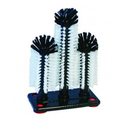 Glass Brush Triple w/Tall Centre Brush and Suction Cups