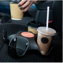Bygreen Stay Tray 4 Cup Recycled Plastic Drink Tray Black