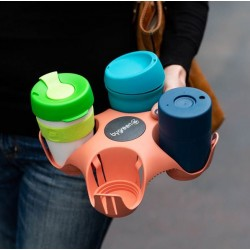 Bygreen Stay Tray 4 Cup Recycled Plastic Drink Tray Pink
