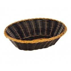 Bread Basket Oval 240 x 55mm Black / Gold Polyprop