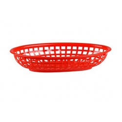 Bread Basket Oval 240 x 150 x 50mm Red Polyprop (36)