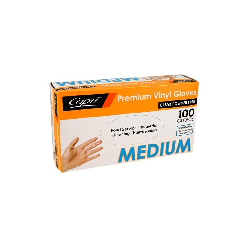 Capri Vinyl Glove Powder Free Medium (100)