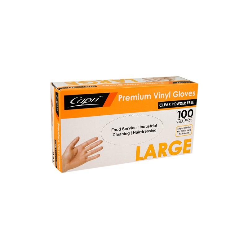 Capri Vinyl Glove Powder Free Large (100)