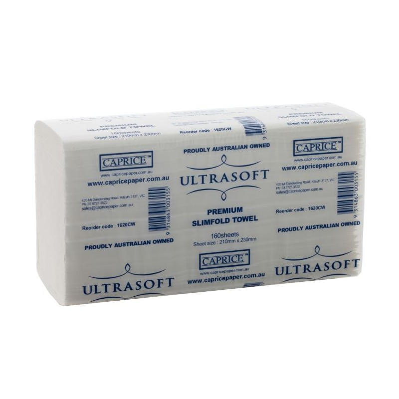 Caprice Ultrasoft Slimfold Interleaved Paper Towel 23x21cm (160/20)