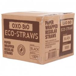 Oxo Bio Straw Eco Individually Wrapped Regular 205mm Black (1000)