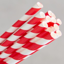 Paper Straw Regular 200mm Red / White (250)