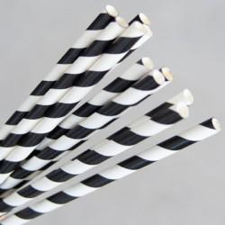 Paper Straw Regular 200mm Black / White (250)