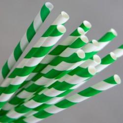 Paper Straw Regular 200mm Green / White (250)