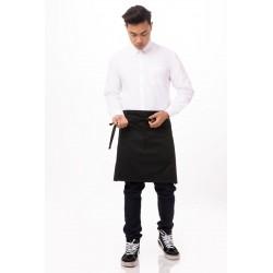 Half Bistro Apron Black w/Pockets