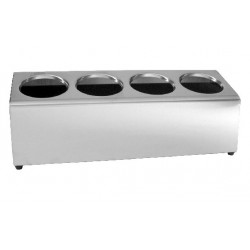 Cutlery Holder 490 x 175 x 180mm Stainless Steel 4 in a Row