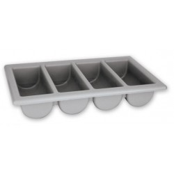 Gastronorm Cutlery Box Plastic 4 Compartment 530 x 325 x 100mm Grey