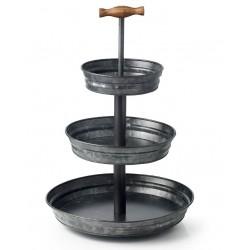 Chef Inox Coney Island Galvanised 3 Tier Stand Black