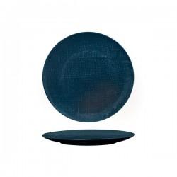 Luzerne Linen 210mm Round Plate Flat Navy Blue (6)