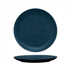 Luzerne Linen 285mm Round Plate Flat Navy Blue (4)
