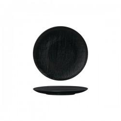 Luzerne Linen 180mm Round Plate Flat Black (6)
