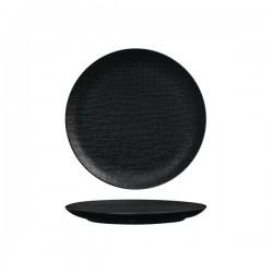 Luzerne Linen 210mm Round Plate Flat Black (6)