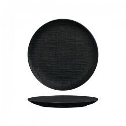 Luzerne Linen 260mm Round Plate Flat Black (4)