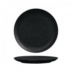 Luzerne Linen 285mm Round Plate Flat Black (4)