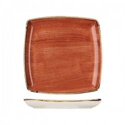 Deep Square Plate 268 x 268mm Spiced Orange Churchill Stonecast (6)