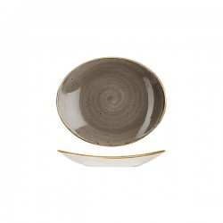 Oval Coupe Plate 192 x 192mm Peppercorn Grey Churchill Stonecast (12)