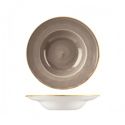 Soup / Pasta Bowl 240mm / 284ml Wide Rim Peppercorn Grey Churchill Stonecast (12)