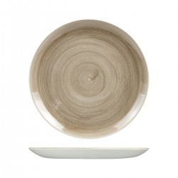 Round Coupe Plate 288mm Patina Taupe Churchill Stonecast (12)