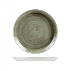 Round Coupe Plate 260mm Patina Burnished Green Churchill Stonecast (12)