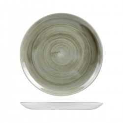 Round Coupe Plate 288mm Patina Burnished Green Churchill Stonecast (12)