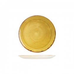 Round Coupe Plate 217mm Mustard Seed Yellow Churchill Stonecast (12)