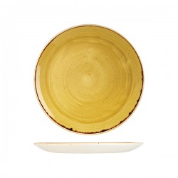 Round Coupe Plate 260mm Mustard Seed Yellow Churchill Stonecast (12)