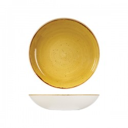 Round Coupe Bowl 248mm / 1136ml Mustard Seed Yellow Churchill Stonecast (12)