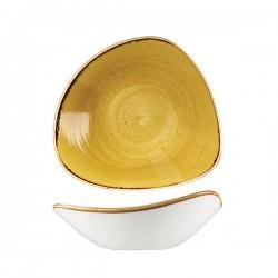 Triangular Bowl 235 x 235mm / 600ml Mustard Seed Yellow Churchill Stonecast (6)