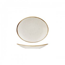Oval Coupe Plate 192 x 163mm Barely White Churchill Stonecast (12)