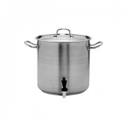 Stockpot 33.6lt w/Cover and Tap 350 x 350mm Pujadas Stainless Steel