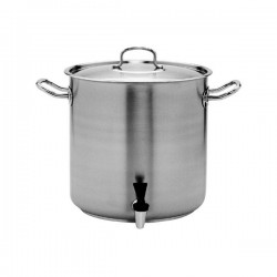 Stockpot 50.0lt w/Cover and Tap 400 x 400mm Pujadas Stainless Steel