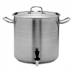 Stockpot 72.0lt w/Cover and Tap 450 x 450mm Pujadas Stainless Steel
