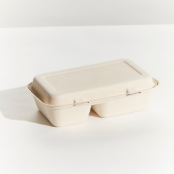 Sugarcane Snack Box 2 Compartment Large 320x233x20mm Natural (250)