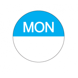 Food Safety Label 25mm Round Removable Monday (1000)