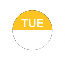 Food Safety Label 25mm Round Removable Tuesday (1000)