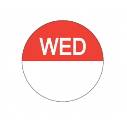 Food Safety Label 25mm Round Removable Wednesday (1000)