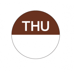 Food Safety Label 25mm Round Removable Thursday (1000)