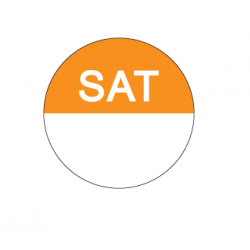 Food Safety Label 25mm Round Removable Saturday (1000)