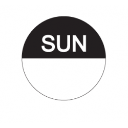 Food Safety Label 25mm Round Removable Sunday (1000)