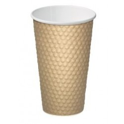 Cast Away Dimple Paper Hot Cup 16oz / 460ml Brown (300)