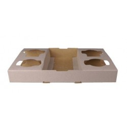Carry Tray 4 Cup 290x175x40mm Cardboard (100)