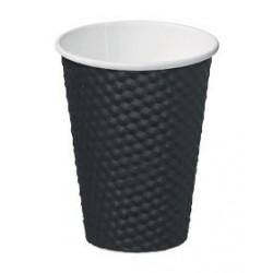 Cast Away Dimple Paper Hot Cup 12oz / 355ml Black (500)