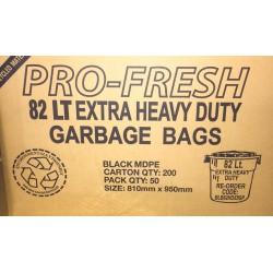 Pro Fresh Bin Liner Extra Heavy Duty 82lt Black (200)