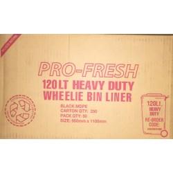 Pro Fresh Wheelie Bin Liner Heavy Duty 120lt Black (250)