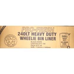 Pro Fresh Wheelie Bin Liner Heavy Duty 240lt Black (100)