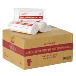 Bin Liner Kitchen Tidy 36lt Roll Pack White (1000)